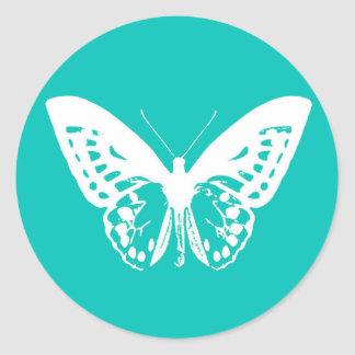 Butterfly sketch, turquoise and white round sticker