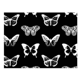 Butterfly sketch, white and black postcard