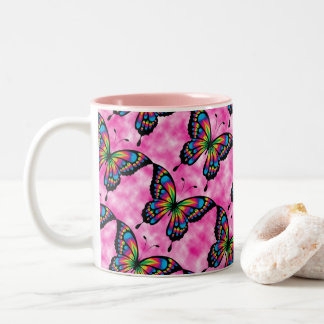 Butterfly Sky Office Home Personalize Destiny'S Two-Tone Coffee Mug