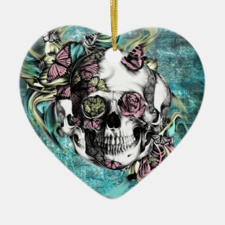 Butterfly smoke skull in blue pink and yellow. ceramic ornament