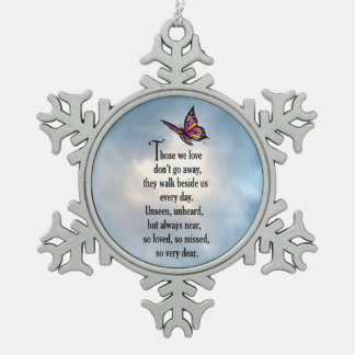 """Butterfly """"So Loved"""" Snowflake Pewter Christmas Ornament"""