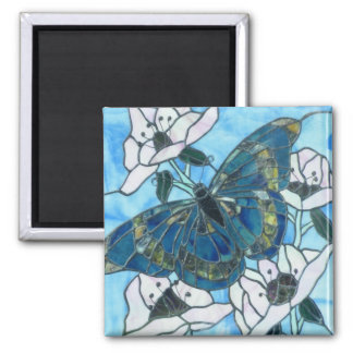 Butterfly stained glass magnet