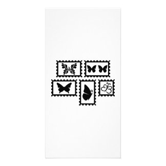 Butterfly stamps personalized photo card