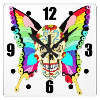 Butterfly Sugar Skull Clock