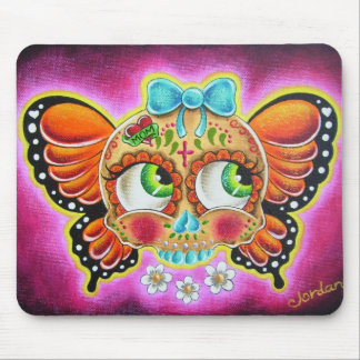 Butterfly sugar skull mouse pad