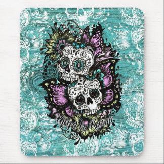 Butterfly sugar skulls illustration in blue. mouse pad