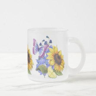 Butterfly Sunflower Garden Frosted Glass Coffee Mug
