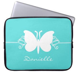 Butterfly Swirls Laptop Sleeve, Aqua