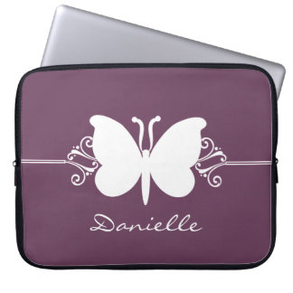 Butterfly Swirls Laptop Sleeve, Purple