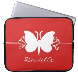 Butterfly Swirls Laptop Sleeve, Red