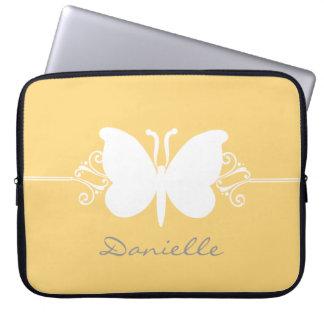 Butterfly Swirls Laptop Sleeve, Yellow