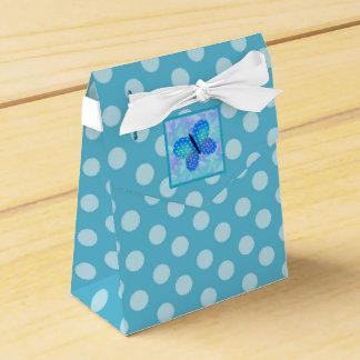 Butterfly : Tent with Ribbon Favor Box Blue Dots Party Favour Boxes