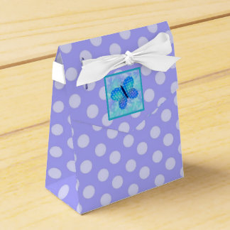 Butterfly : Tent with Ribbon Favor Box Purple Dots Wedding Favour Box