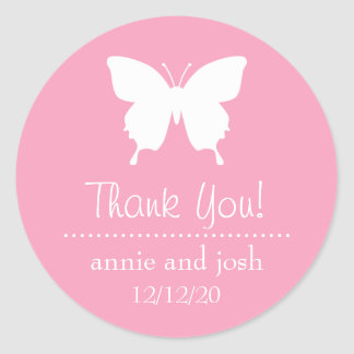 Butterfly Thank You Labels (Pink) Round Stickers
