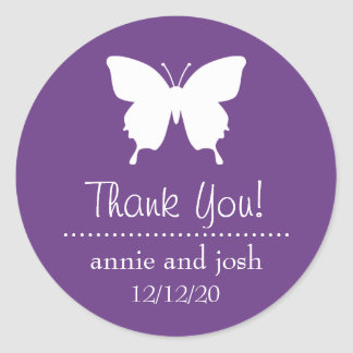 Butterfly Thank You Labels (Purple) Round Sticker