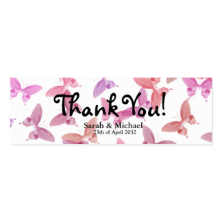 "Butterfly 'Thank You"" Wedding favor Gift tag Pack Of Skinny Business Cards"