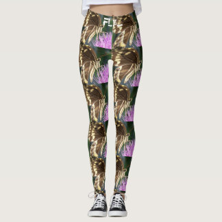 Butterfly/thistle yoga leggings