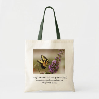 Butterfly Tote Bag w/ Ralph Waldo Emerson quote