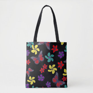 Butterfly tote with tropical flowers