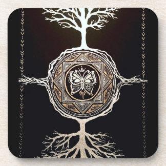 Butterfly Tree Mandala Beverage Coaster