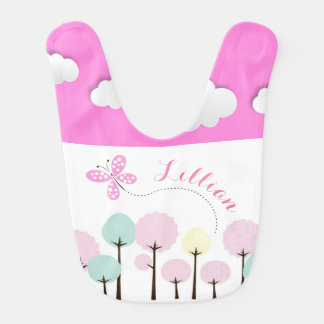 Butterfly, Trees and Clouds Bib