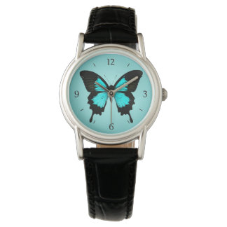 Butterfly - turquoise blue and black wristwatches