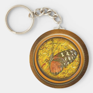 butterfly under glass basic round button key ring