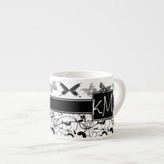 Butterfly Victorian Flourish Black White Espresso Cup
