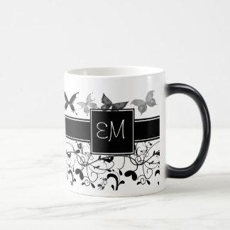 Butterfly Victorian Flourish Black White Magic Mug