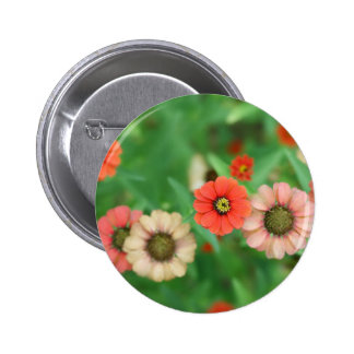 Butterfly View - Red Daisy Flowers Button
