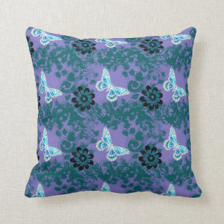 Butterfly Vintage Look Pattern Blue Throw Pillows
