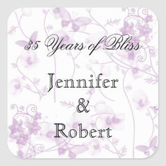 Butterfly Visions in Lilac Envelope Seal Square Sticker