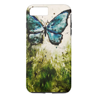 Butterfly Watercolor No. 1 - Blue Morpho & Foliage iPhone 7 Plus Case