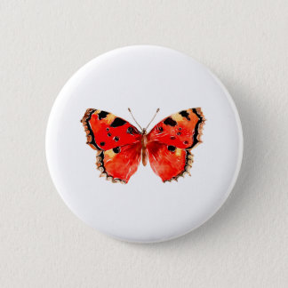 Butterfly Watercolor Red Butterfly 6 Cm Round Badge