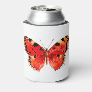 Butterfly Watercolor Red Butterfly Can Cooler