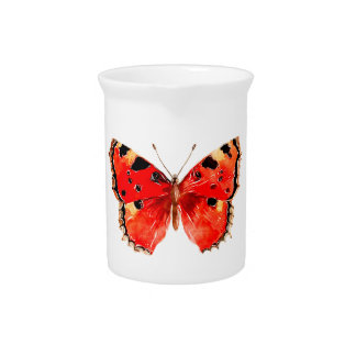 Butterfly Watercolor Red Butterfly Pitcher