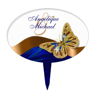 Butterfly wedding birthday engagement anniversary oval cake topper