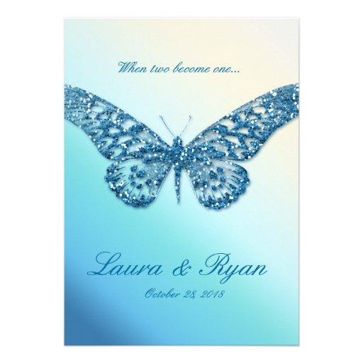Butterfly Wedding Invite Sparkle Blue