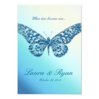 Butterfly Wedding Invite Sparkle Blue
