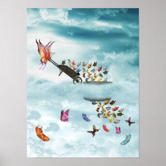 Butterfly Wheelbarrow Poster