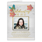 Butterfly White Gold Grey Memorial Service Invite