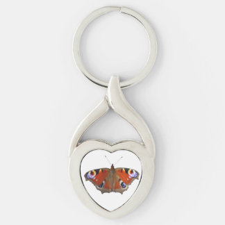 butterfly wings Silver-Colored twisted heart key ring