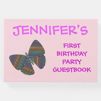 Butterfly With Colorful Striped Wings + Birthday Guest Book