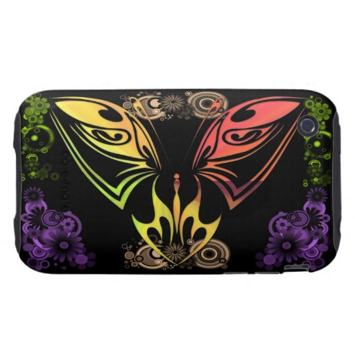 Butterfly with Flowers iPhone 3G/3GS Case-Mate Cas iPhone 3 Tough Cover