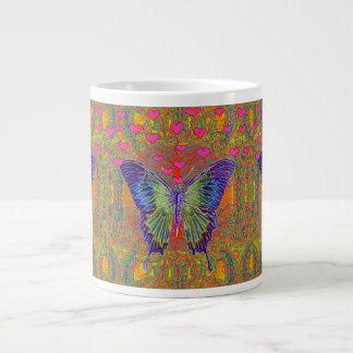 Butterfly with heart shaped patterns jumbo mug