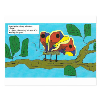 Butterfly with humerous comments on relationships. postcard