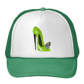 Butterfly with Lime Green Stiletto Shoe Art Design Cap