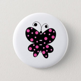 Butterfly With Polka Dots 6 Cm Round Badge