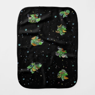 Butterfly with raindrops stars and pearls burp cloth