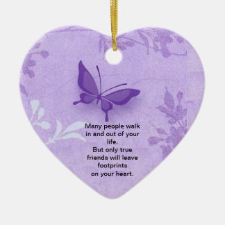Butterfly with true friends saying ceramic heart decoration
